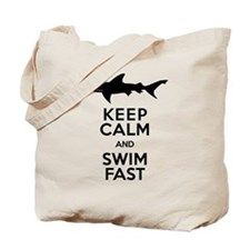 Sharks! Keep Calm and Swim Fast Tote Bag