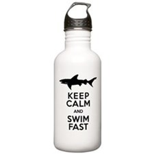 Sharks! Keep Calm and Swim Fast Water Bottle