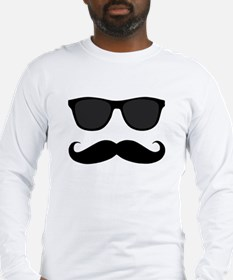 Black Mustache and Sunglasses Long Sleeve T-Shirt