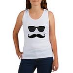 Black Mustache and Sunglasses Tank Top