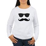 Black Mustache and Sunglasses Long Sleeve T-Shirt