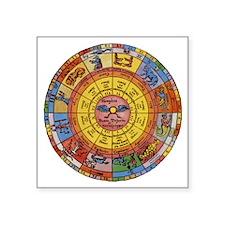 "Vintage Celestial, Zodiac W Square Sticker 3"" x 3"""