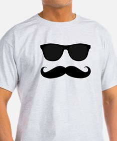 Black Mustache and Sunglasses T-Shirt