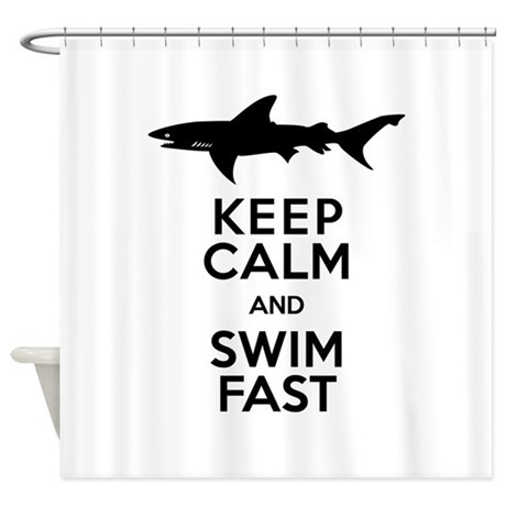 Sharks! Keep Calm and Swim Fast Shower Curtain