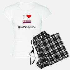 I Love KAUNAKAKAI Hawaii Pajamas