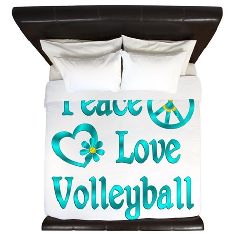 Peace Love Volleyball King Duvet by hobbylovergifts