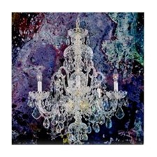 abstract watercolor chandelier  Tile Coaster
