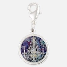 abstract watercolor chandelier Silver Round Charm