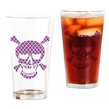 Skull Purple Quatrefoil Drinking Glass