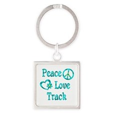 Peace Love Track Square Keychain
