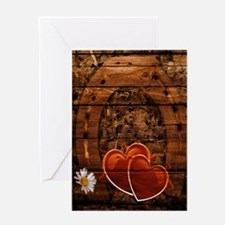 country wedding hearts horseshoe woo Greeting Card