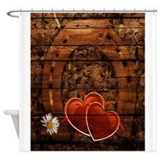 country wedding hearts horseshoe wo Shower Curtain