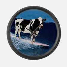 Cow surfing Large Wall Clock