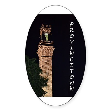 Pilgrim Monument at Night Sticker (Oval)