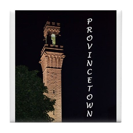 Pilgrim Monument at Night Tile Coaster