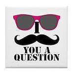 Black Mustache and Sunglasses Tile Coaster