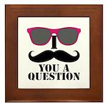 Black Mustache and Sunglasses Framed Tile