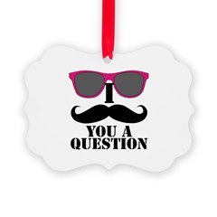 I Mustache You A Question Pink Sunglasses Ornament