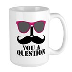 I Mustache You A Question Pink Sunglasses Mugs