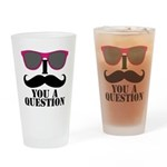 I Mustache You A Question Pink Sunglasses Drinking