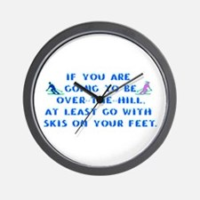 Over the Hill on Skis Wall Clock