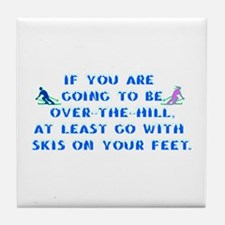 Over the Hill on Skis Tile Coaster