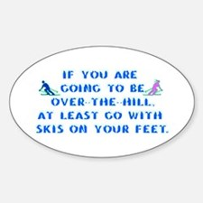 Over the Hill on Skis Oval Decal