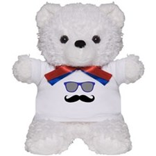 Funny Black Mustache and Blue Sunglasses Teddy Bea