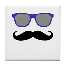 Funny Black Mustache and Blue Sunglasses Tile Coas