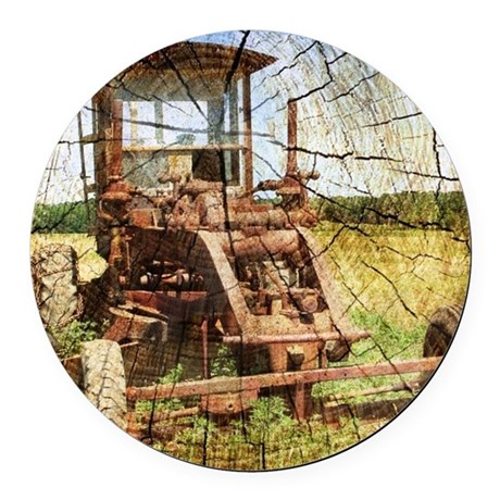rustic farm tractor Round Car Magnet