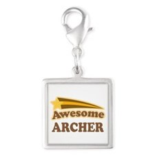 Awesome Archer Silver Square Charm