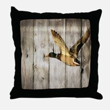 barnwood wild duck Throw Pillow
