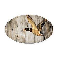 barnwood wild duck Oval Car Magnet