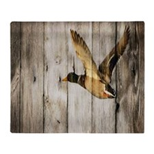 barnwood wild duck Throw Blanket