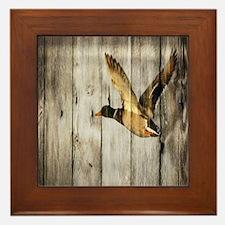 barnwood wild duck Framed Tile