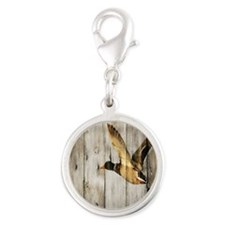 barnwood wild duck Silver Round Charm