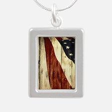 grunge USA flag Silver Portrait Necklace