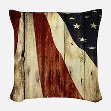 grunge USA flag Woven Throw Pillow