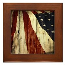 grunge USA flag Framed Tile
