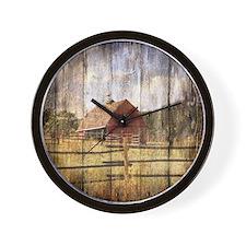farm red barn Wall Clock