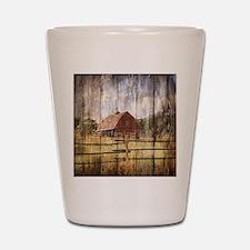 farm red barn Shot Glass