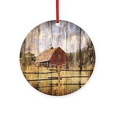 farm red barn Round Ornament