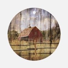 farm red barn Round Ornament