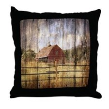 farm red barn Throw Pillow