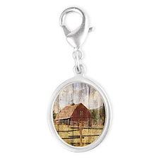farm red barn Silver Oval Charm