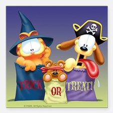 "Garfield Trick or Treat Square Car Magnet 3"" x 3"""