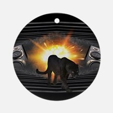 modern black panther keyboard Round Ornament
