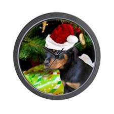 Christmas Rottweiler Puppy Wall Clock