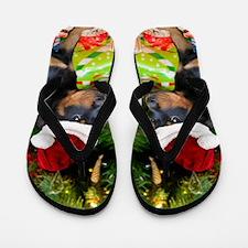 Christmas Rottweiler Puppy Flip Flops