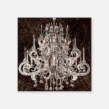 "chandelier woodgrain rustic Square Sticker 3"" x 3"""